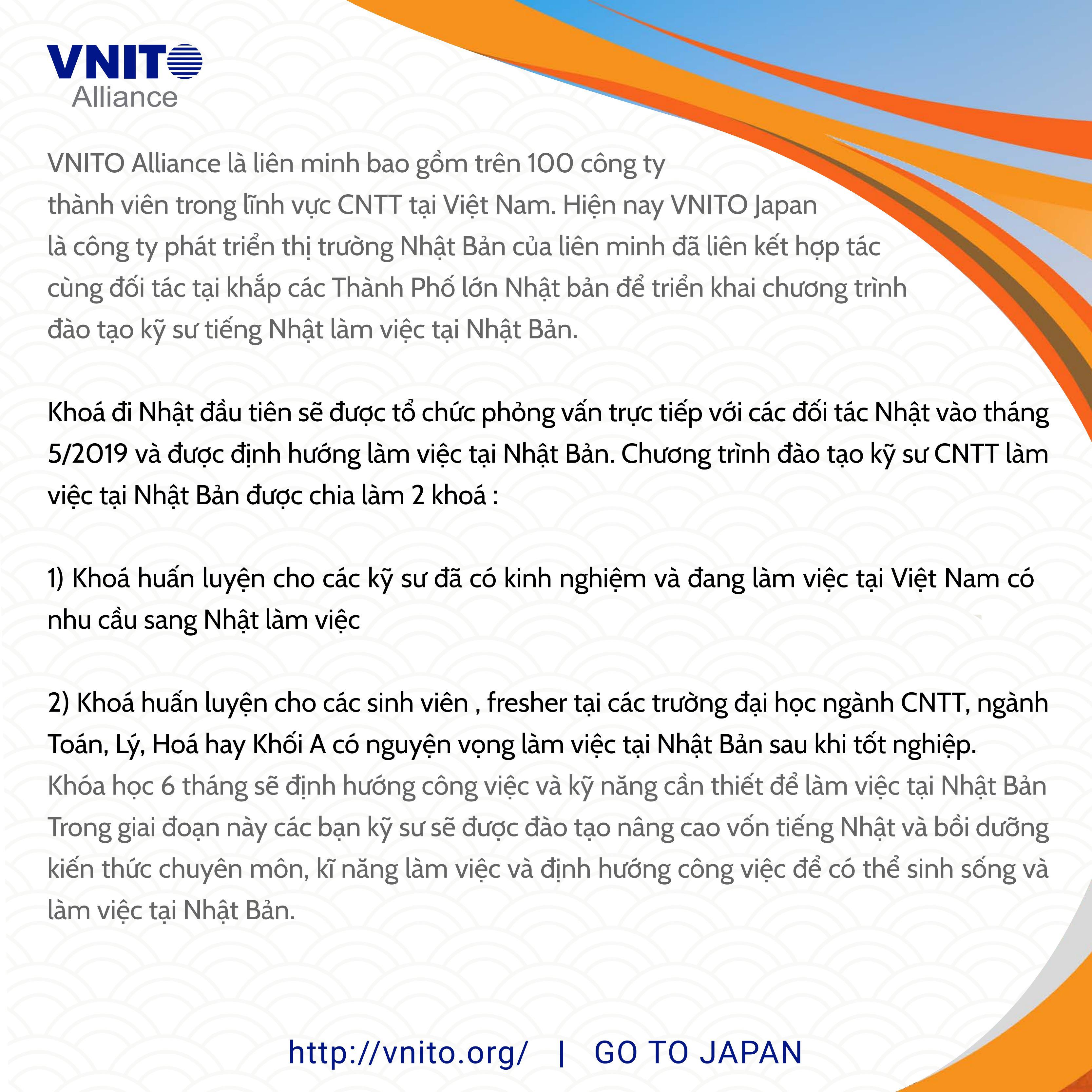 Cơ hội lớn làm việc tại Nhật Bản cùng VNITO Japan