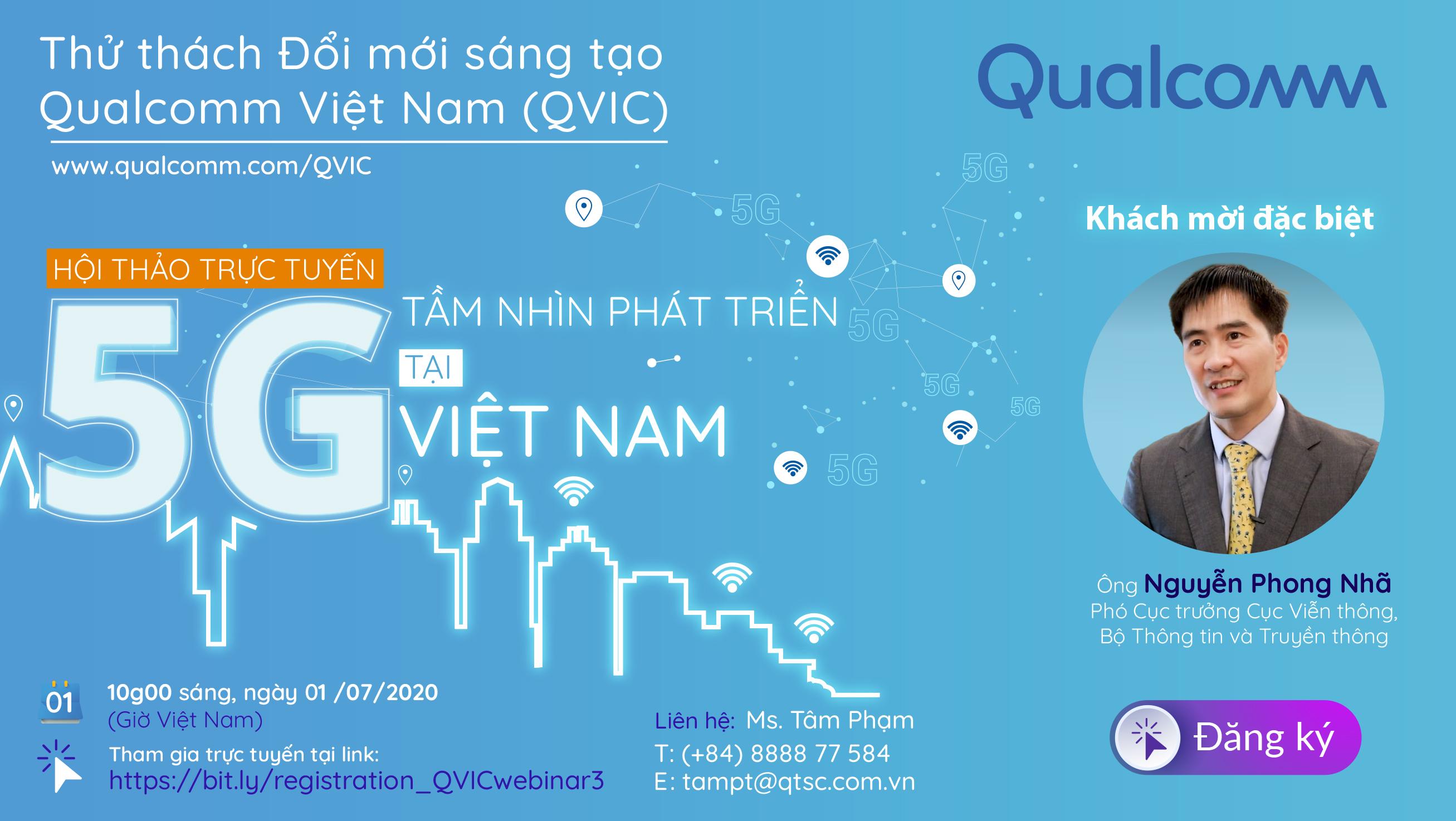"""hội thảo trực tuyến""""Tầm nhìn phát triển 5G tại Việt Nam"""""""